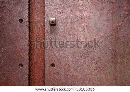 Old flat metal with pitting and rust. - stock photo