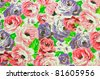 old floral design on fabric - stock photo