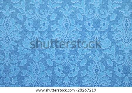 Old Floral vintage wallpaper background. Blue color. - stock photo