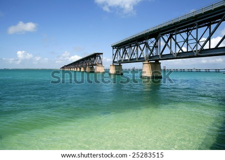 old Florida keys broken bridge over turquoise water - stock photo