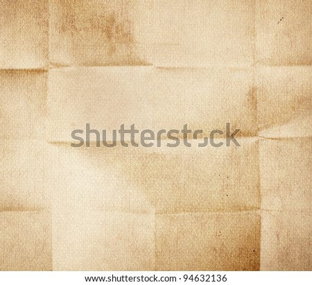 Old folded paper texture - stock photo