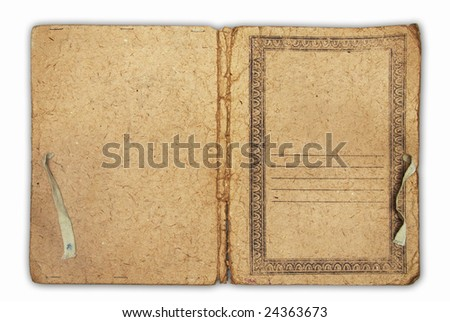 old folder for paper isolated on white background with clipping path
