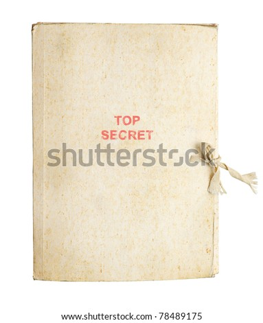 Old folder for papers fastened by a band - stock photo