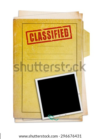 Old folder with top secret stamp and photo, clipping path.