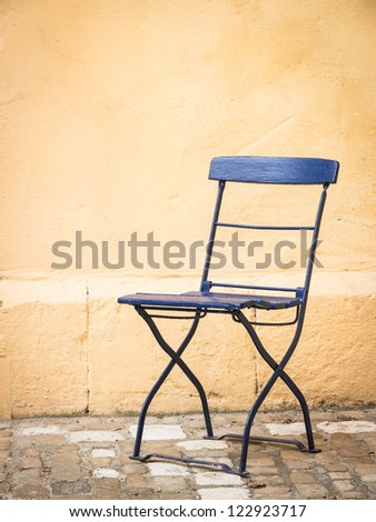 old folding chair backyard rome nice stock photo royalty free