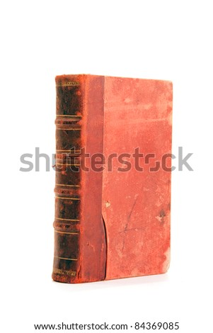 Old folio in dark red cover on white background. Book with ancient knowledge.