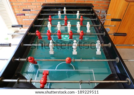 old football table, soccer table