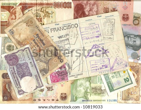 Old foreign currency from around the world with passport