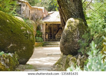 Old forest abbey yard. Convent of the Capuchos (Sintra, Lisbon Region, Portugal)