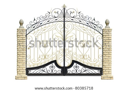 Old forged  decorative  gates  decorated by ornament. Isolated over white background. - stock photo