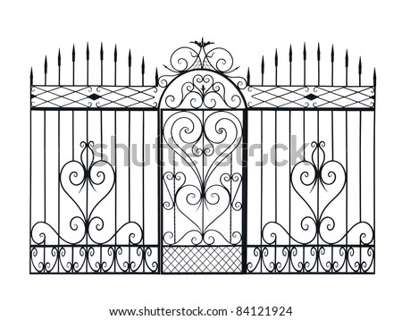 Old forged fence and door  decorated by ornament. Isolated over white background. - stock photo