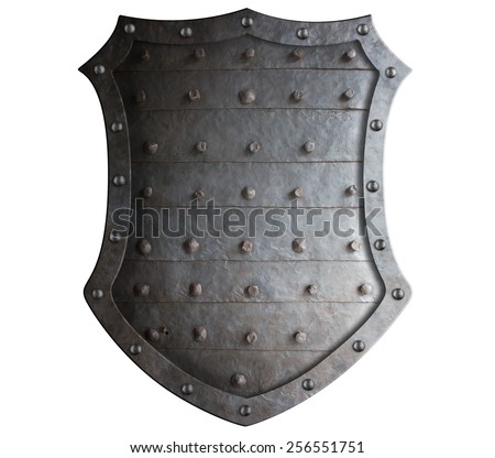 Old forged medieval shield with rough spikes isolated - stock photo