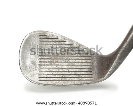 Old forged raw iron golf club. sand wedge. - stock photo