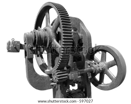 Old forging press on white background