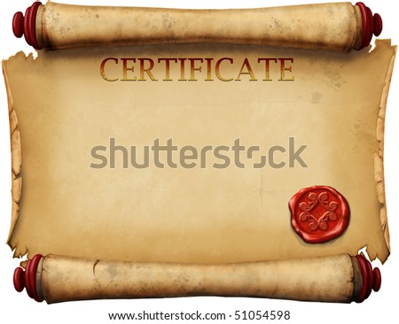 old form certificates with wax stamp - stock photo