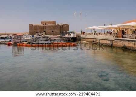 Old fort on Mediterranean Sea coast in city of Paphos, Republic of Cyprus