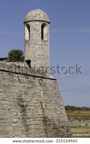Old fort tower at Castillo de San Marcos in St.Augustine, Florida  - stock photo