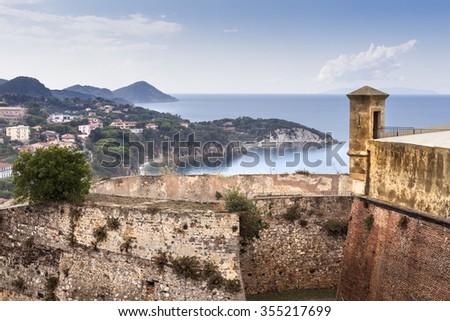 Old fortification on the Elba island - stock photo