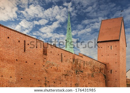 Old fortified wall in old Riga, Latvia. In 2014, RIGA is the European capital of culture  - stock photo