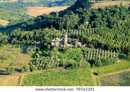 Old fortress among the fields of Umbria, Italy