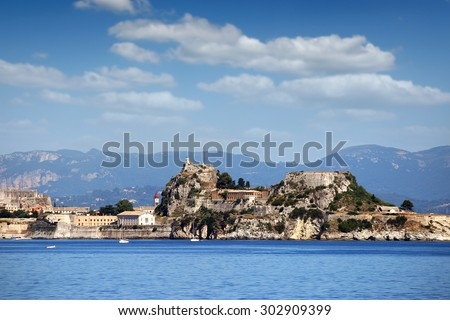 old fortress Corfu town landscape - stock photo
