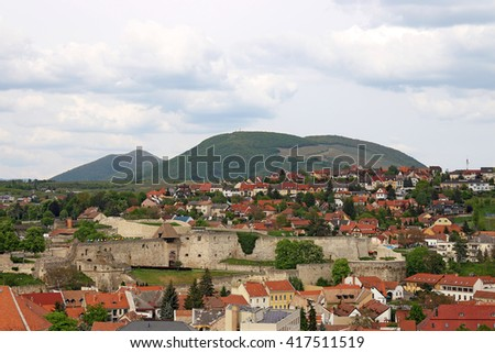 old fortress Eger cityscape Hungary - stock photo