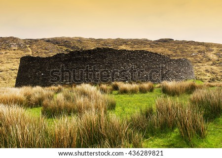 Old fortress in Ireland ( Kerry country) - stock photo