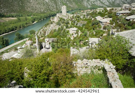Old fortress in medieval city of Pocitelj, Bosnia and Hercegovina