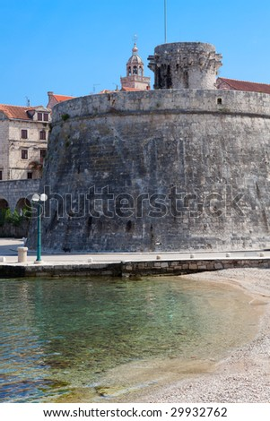 Old fortress in medieval town Korcula. Croatia, Dalmatia region, Europe. - stock photo