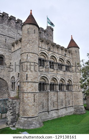 Old fortress in the ancient city of Ghent, Belgium - stock photo