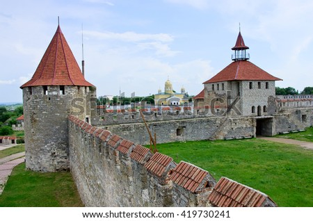 Old fortress on the river Dniester in town Bender, Transnistria. City within the borders of Moldova under of the control unrecognized Transnistria Republic - stock photo