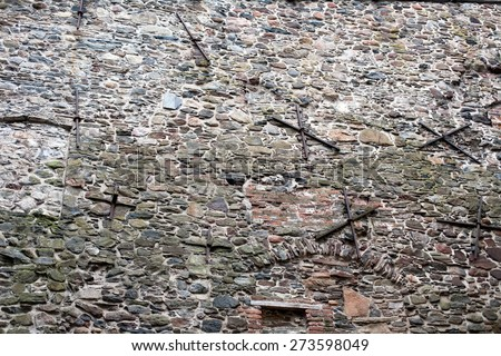 old fortress wall made from big stones masonry pattern background - stock photo