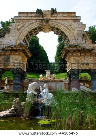 old fountain in park of Schonbrunn Palace in Vienna. Austria - stock photo