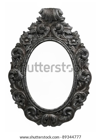 Old frame baroque oval - stock photo