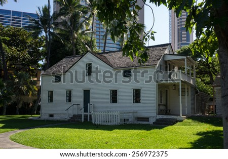 Old frame clapboard building at Mission Houses Museum in Honolulu, Oahu, Hawaii - stock photo