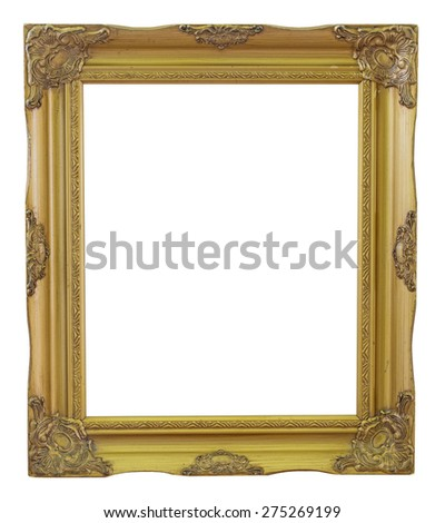 Old Frame gold and copper vintage isolated background.