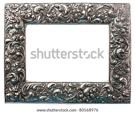 old frame isolated on white - stock photo