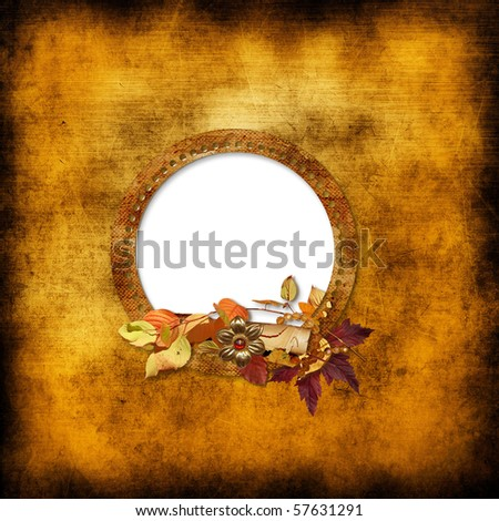 Old frame on vintage background - stock photo