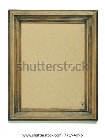 Old frame with an empty cardboard isolated on white - stock photo