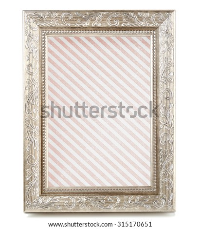 Old frame with striped canvas isolated on white - stock photo