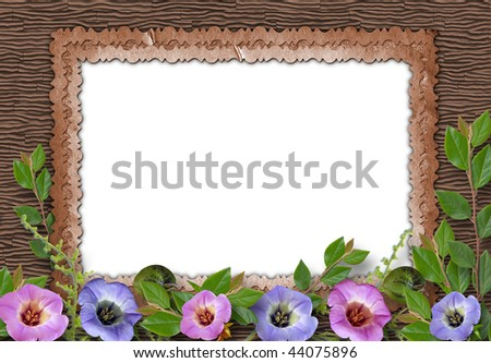 Old framework for photo on the vintage background. - stock photo