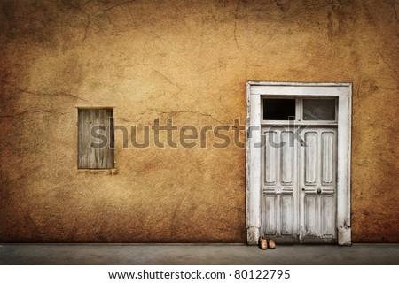 Old French door - stock photo