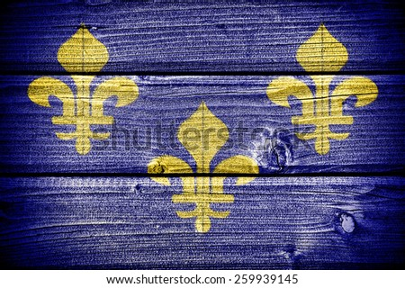 Old french flag painted on old grungy wooden  background - stock photo