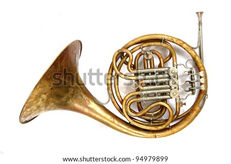 old french horn isolated on the white background - stock photo