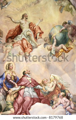 old fresco in a medieval church - stock photo