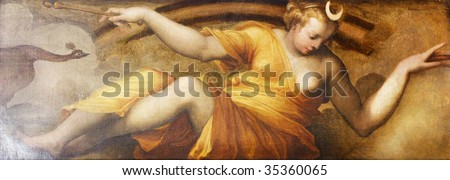 Old fresco with beautiful woman appearing as Moon from Palazzo Vecchio in Florence. - stock photo