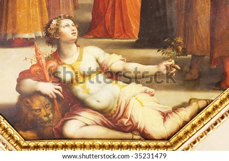 Old fresco with beautiful woman from Palazzo Vecchio in Florence - stock photo