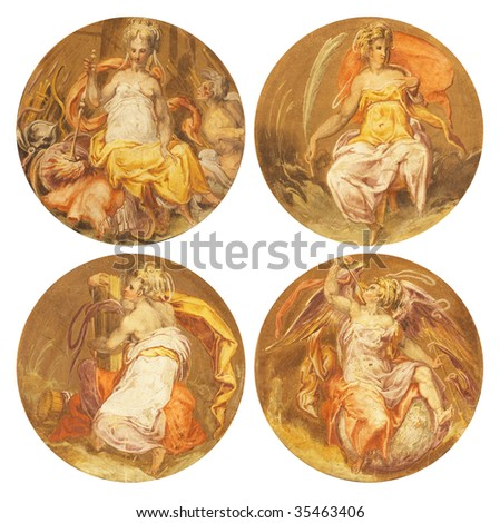 Old frescoes with beautiful women from Palazzo Vecchio in Florence. - stock photo