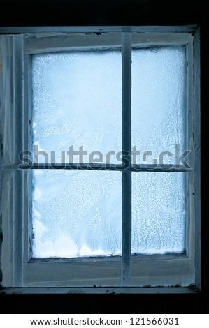 Old Frozen window - stock photo