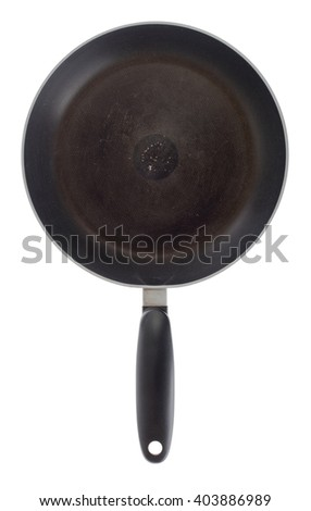 Old frying pan isolated on a white background - stock photo